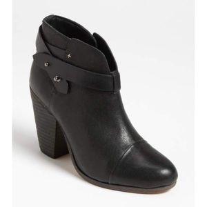 Rag & Bone Black Leather Harrow Ankle Booties 39.5